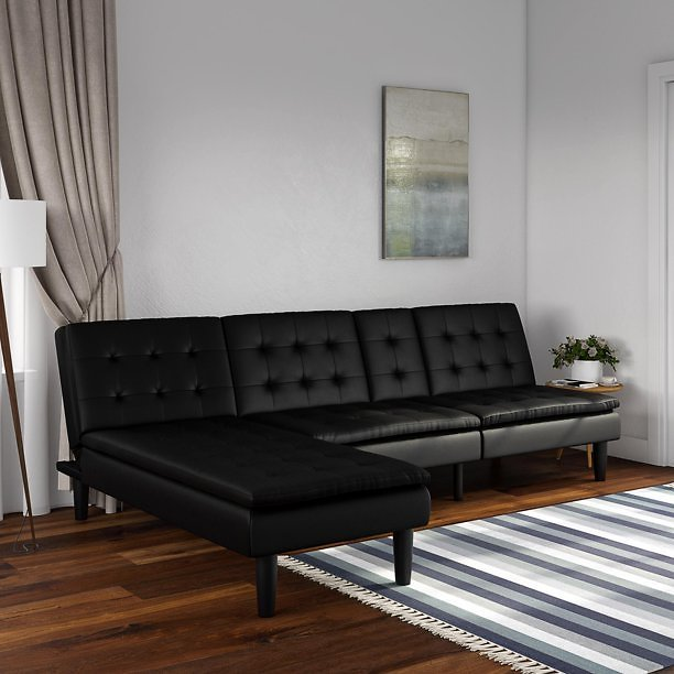 Mainstays Pillow Top Memory Foam Futon with Cupholder & Chaise Lounger Set, Black Faux Leather
