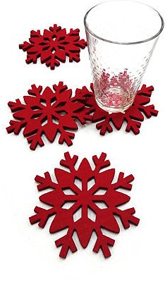 The Cellar Red Snowflake Coasters, Set of 4, Created for Macy's & Reviews - Bar & Wine - Dining