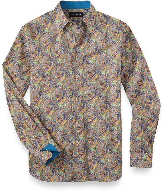 Cotton and Silk Paisley Print Casual Shirt