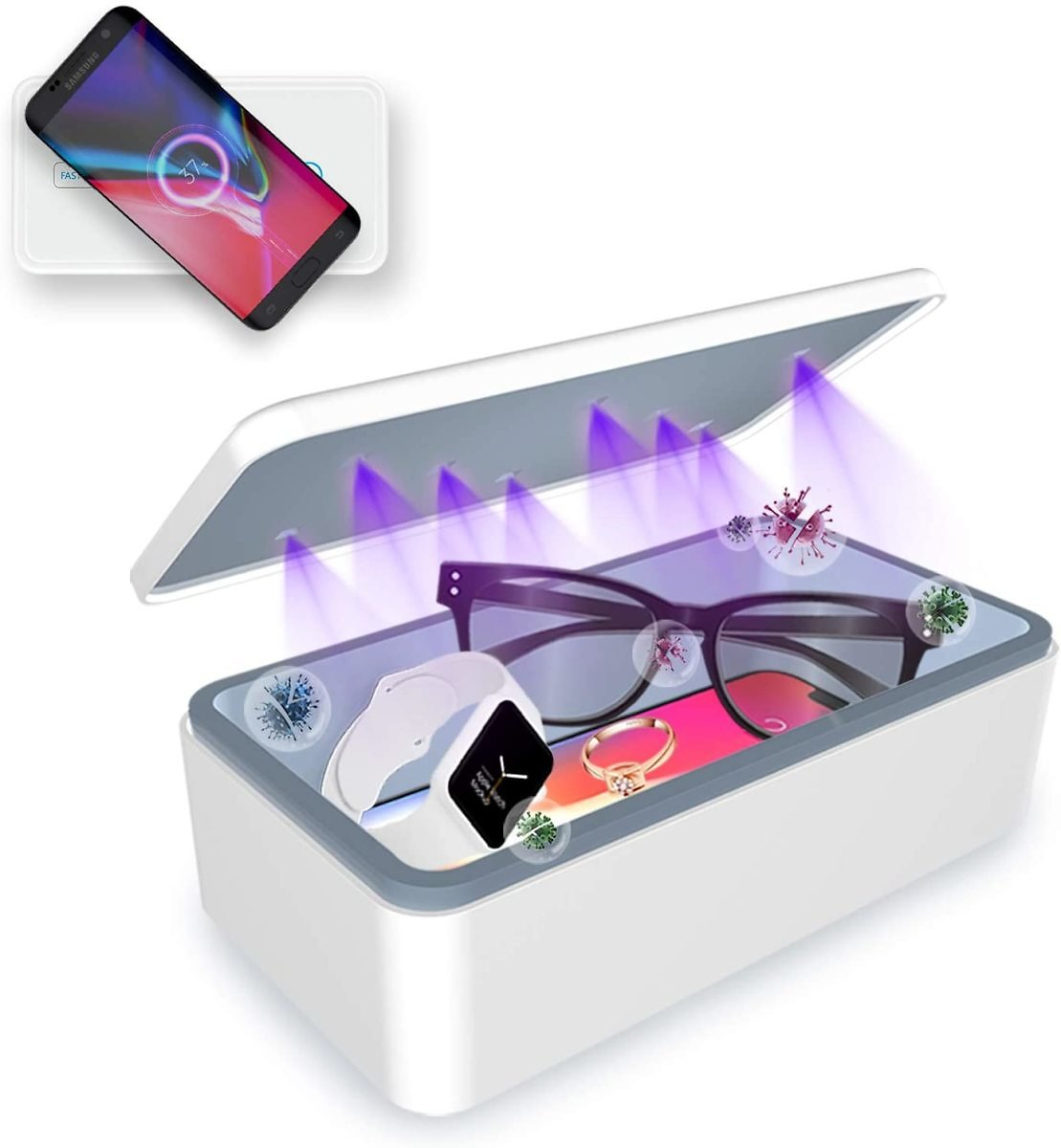 Cahot Fast UV Light Sanitizer Box , Portable Phone UVC Light Sanitizer with Extra Rack, Wireless Charging for Smart Phone, Deep