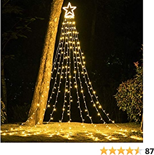 PUHONG Christmas Decoration Outdoor Star String Lights,16.4Ft Christmas Tree Topper Lights 320 LED 8 Modes with 14