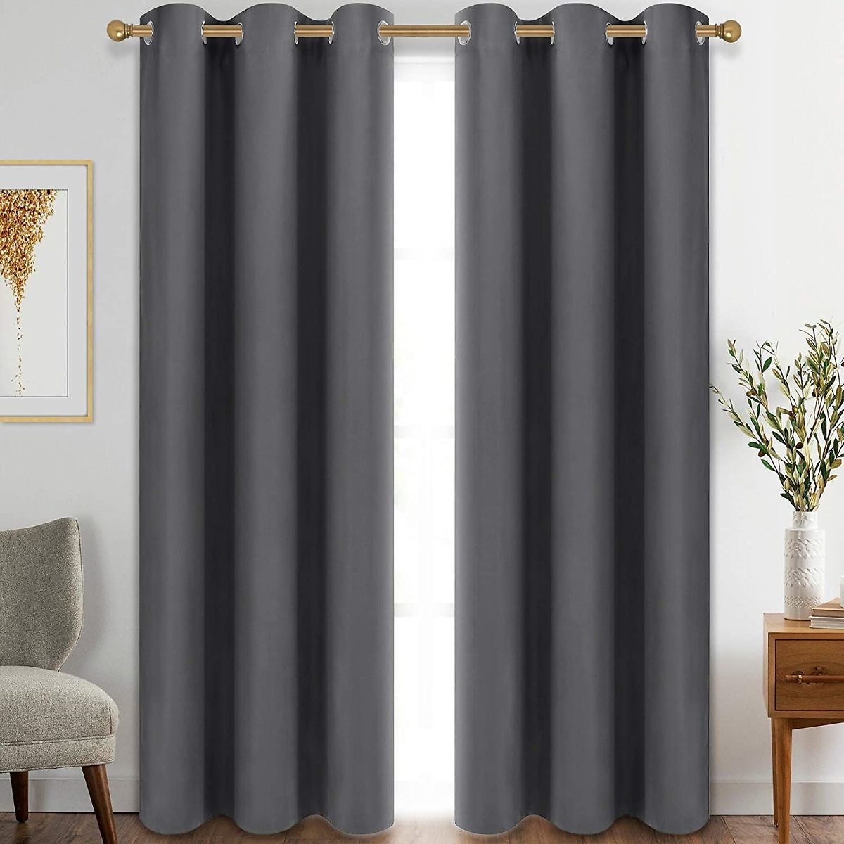 Diraysid Grey Blackout Curtains for Bedroom Grommet Thermal Insulated Room Darkening Curtains (42 X 84 Inch, 2 Panels)