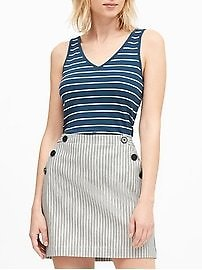 Petite Stripe Ribbed V-Back Tank