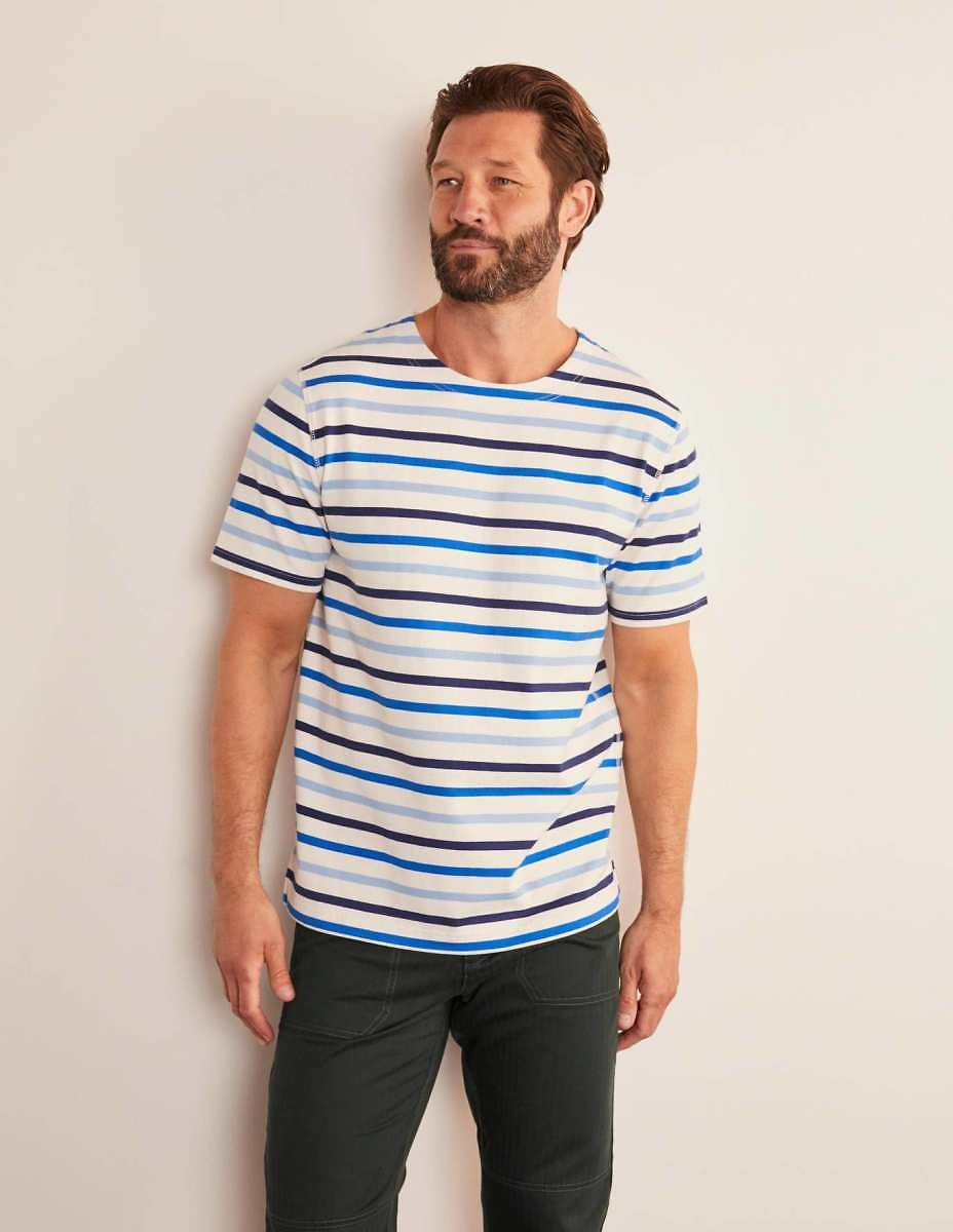 Short Sleeve Chichester - Navy/Frosted Blue Stripe