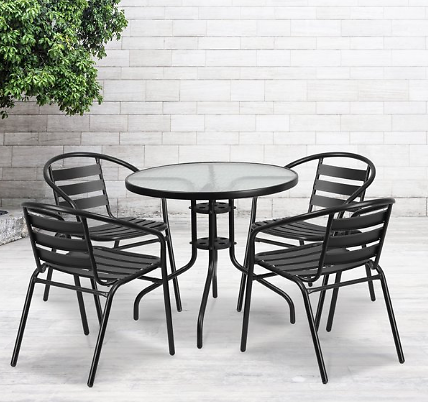 Outdoor Patio Dining Set, Round Glass Table Aluminum Chairs