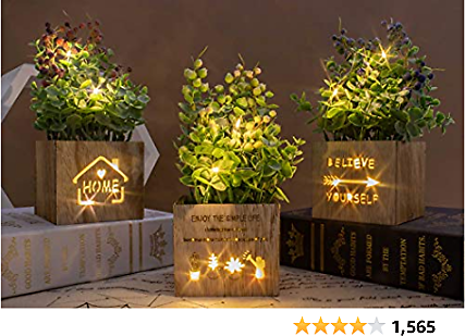 BEGONDIS Set of 3 Artificial Flowers with Led Lights in Wooden Box, Artificial Plants Plastic Fake Topiary for Home/Office Decorations, Table Centerpiece (led Flower Set of 3)