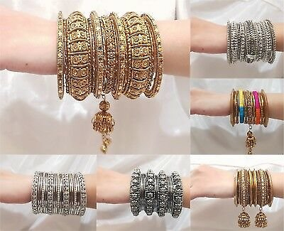 Indian Bangles Jewellery Designer Traditional Bangle Set Gold Silver Plated New
