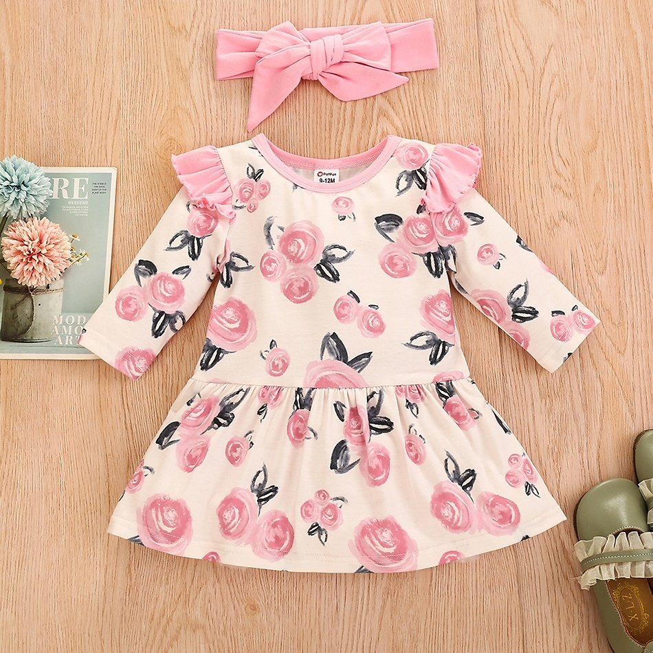 2-piece Baby Floral Dress Romper and Headband Set