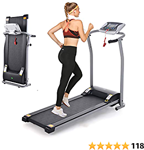 Folding Treadmill, Electric Running Machine with LCD Monitor Motorized Walking Running Machine Equipment for Home Gym