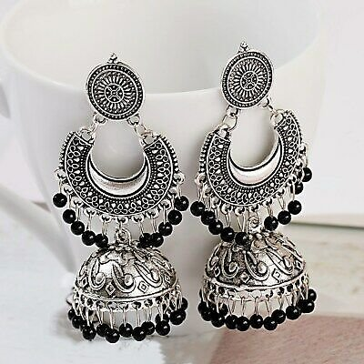 Elegant Silver Hoop Tassel Boho Gemstone Earring for Women Jewelry A Pair/set