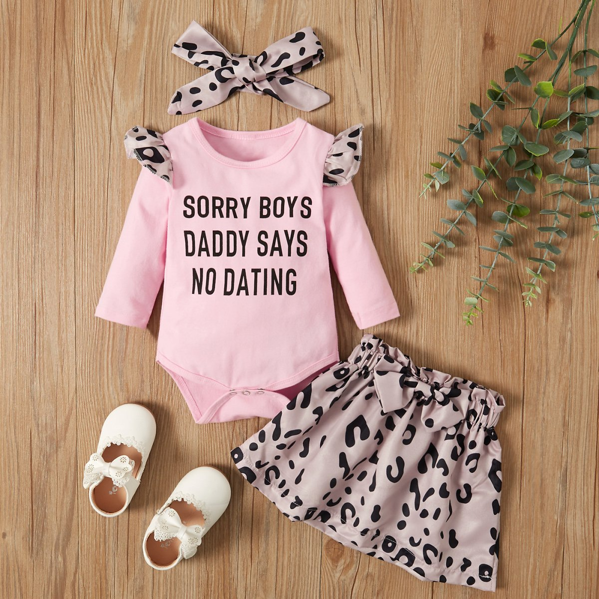 3-pcs Baby Girl Letter Casual Suit-dress Cotton Fashion Long Sleeve Infant Clothing Outfits