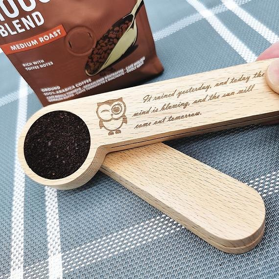 Coffee Scoop with Clip,Personalized Coffee Scoop,coffee Wooden Spoon,Laser Engraving,Custom Coffee Scoop, Coffee Lover Gift.