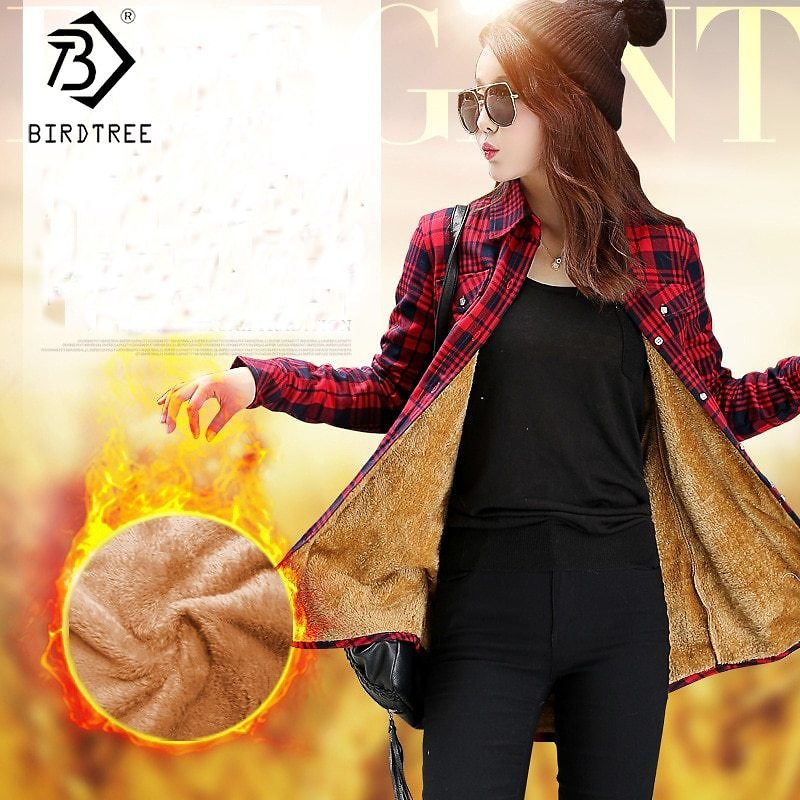 US $15.3 40% OFF|2019 Autumn Velvet Thick Warm New Women's Plaid Shirt Full Sleeve Tops M 2XL Casual Chic Blouse Winter Clothes C90702K|Blouses & Shirts| - AliExpress