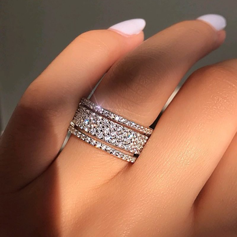 US $2.12 |Elegant Silver Color Rhinestone Crystal Ring Wide Love Rings For Women Wedding Engagement Full Zircon Finger Rings Jewelry Gifts|Engagement Rings| - AliExpress