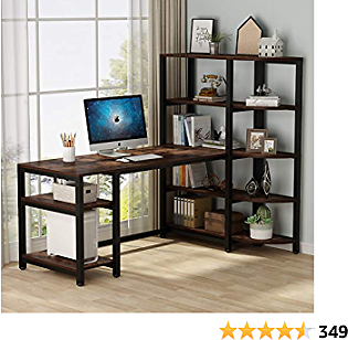 Tribesigns Industrial Computer Desk with 5 Tier Storage Shelves, 67 Inch Large Office Desk Study Writing Table Workstation with Corner Bookshelf and Tower Shelf for Home Office, Retro Brown