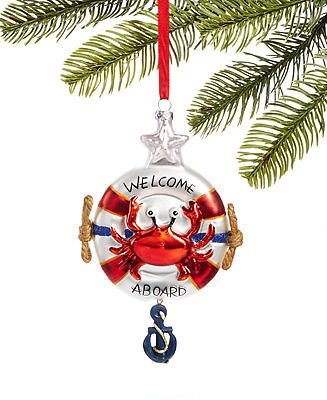 Holiday Lane At The Beach Molded Glass Life Preserver Ornament, Created for Macy's & Reviews - Holiday Shop - Home