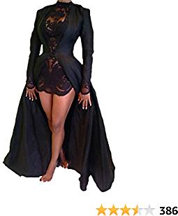 Xxxiticat Women's Sexy 2Pcs Gothic Lace Sheer Jacket Long Dress Gown Party Halloween Costume Outfit