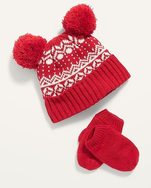 Unisex Fair Isle Pom-Pom Beanie and Mittens Set for Toddler