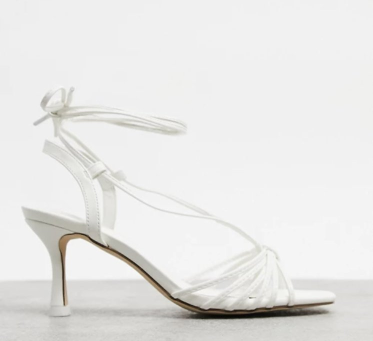 Truffle Collection Tie Leg Strappy Heeled Sandals in White | ASOS