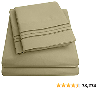 1500 Supreme Collection Bed Sheet Set - Extra Soft, Elastic Corner Straps, Deep Pockets, Wrinkle & Fade Resistant Hypoallergenic Sheets Set, Luxury Hotel Bedding, King, Sage