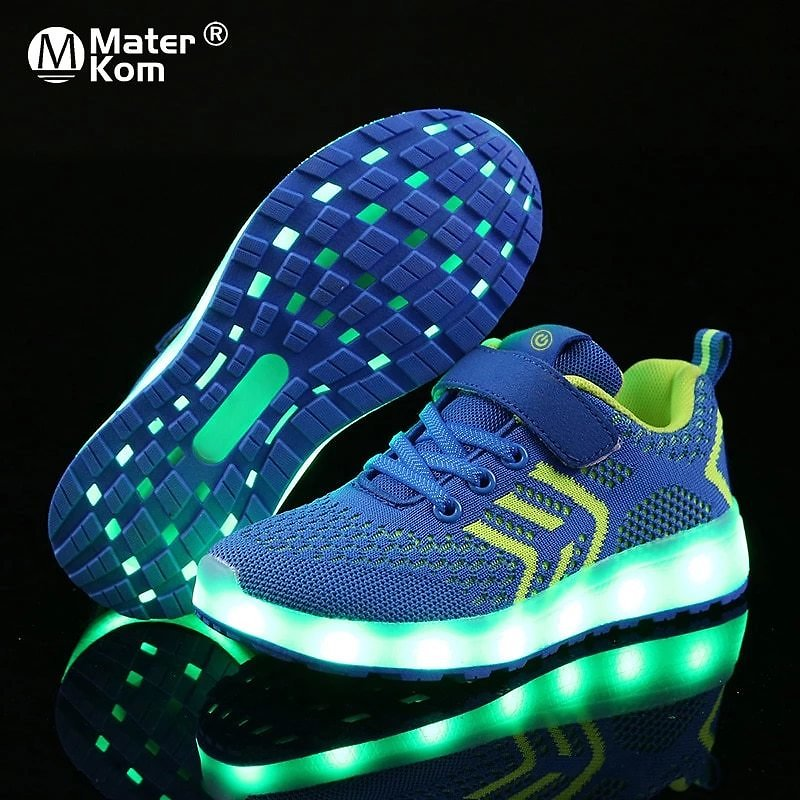 Size 25-37 USB Charger Glowing Sneakers LED Children Lighting Shoes Luminous Sneakers for Boys&Girls Illuminated Lighted Shoes