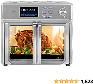 Kalorik 26 QT Digital Maxx Air Fryer Oven with 9 Accessories, Roaster, Broiler, Rotisserie, Dehydrator, Oven, Toaster, Pizza Oven and Slow Cooker. Includes Cookbook. Sears Up to 500⁰F. Extra Large Capacity, All in One Appliance. Stainless Steel....