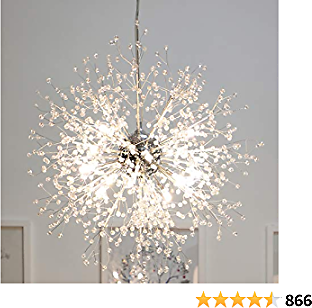 GDNS Chandeliers Firework LED Light Stainless Steel Crystal Pendant Lighting Ceiling Light Fixtures Chandeliers Lighting,Dia 23.5 Inch
