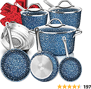 Dealz Frenzy Stone Ultra Non-Stick Pots and Pans Set,16 Pieces Marble Coating Induction Cookware Set,Stainless Steel Handle,Scratch Resistance,Dishwasher Safe,Oven Safe,Merry Xmas NewYear Gift (Blue)