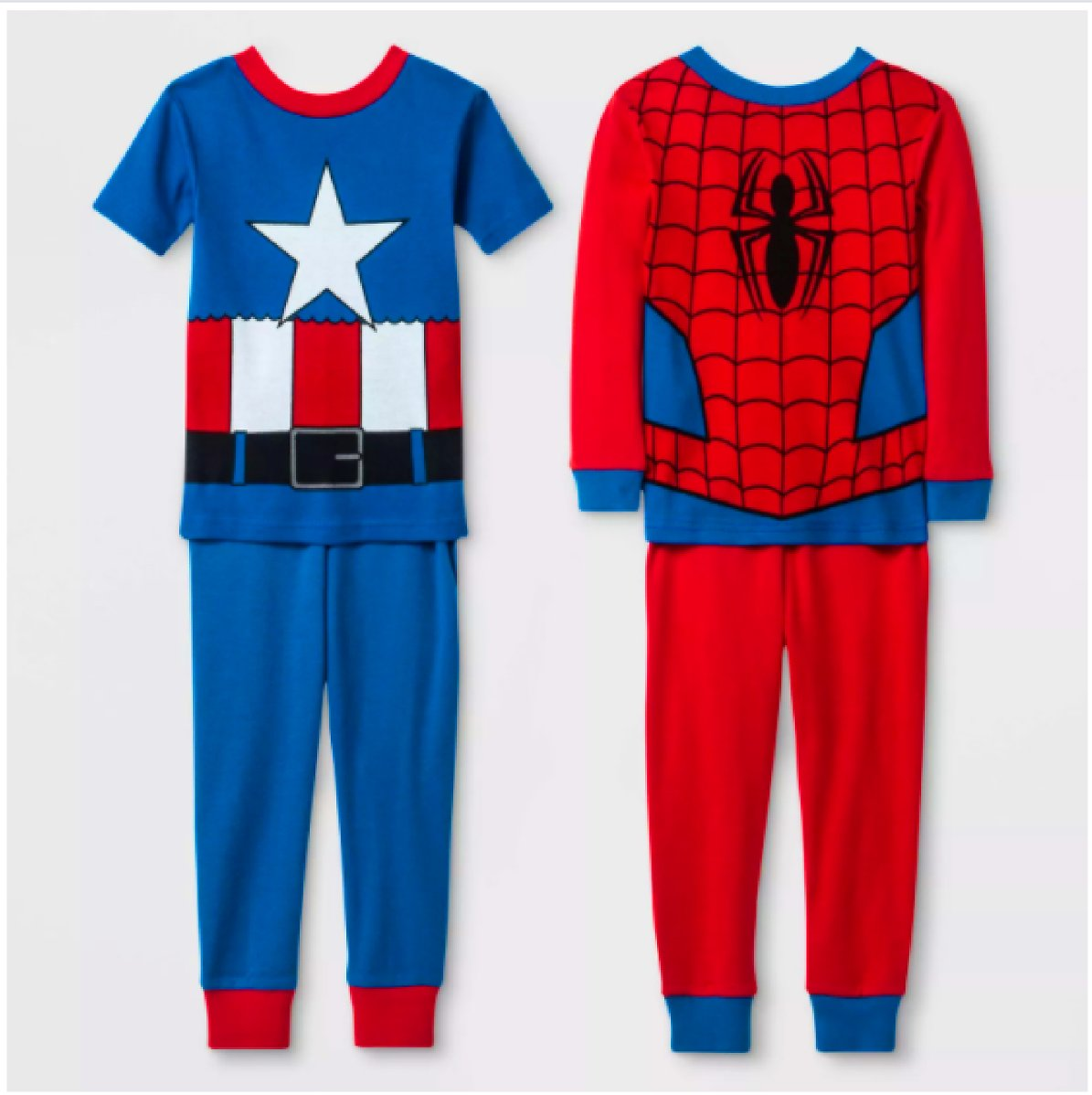 Toddler Boys' 4pc Marvel Pajama Set - Red/Blue 4T