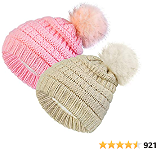 2 Pack Toddler Kids Winter Warm Fleece Lined Beanie Hats for Boys and Girls Crochet Hairball Knit Cap (1-6 Years)