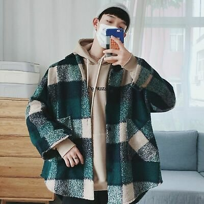 Plaid Men Casual Coat Flannel Streetwear Jackets Thick Loose Wool Velvet Clothes