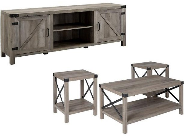 4 Piece Barn Door TV Stand Coffee Table and 2 End Table Set in Rustic Gray Oak