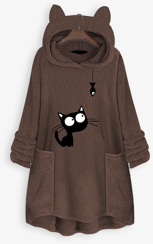 Casual Cat Fish Print Pockets Hoodies For Women
