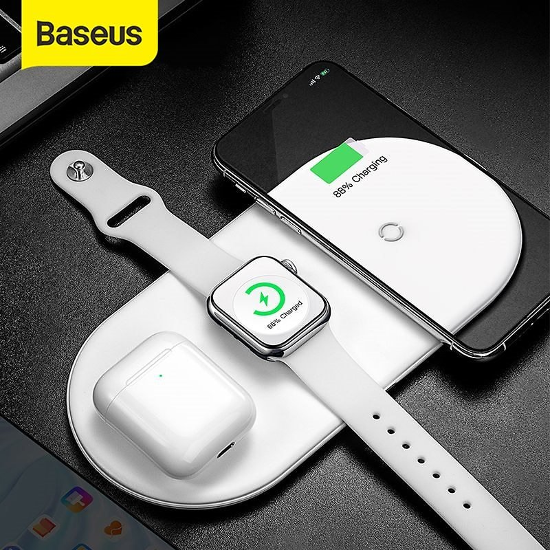 US $23.99 20% OFF|Baseus 3 in 1 Wireless Charger For IPhone 12 Samsung Fast Wireless Charging Pad For Apple Watch 5 4 3 For Airpods Charge Pad|Wireless Chargers| - AliExpress