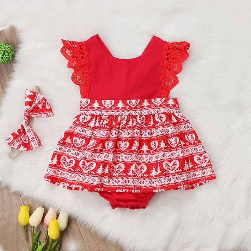 2-piece Baby Sweet Lace Dress Romper and Headband Set