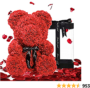 U UQUI 16 Inches Rose Bear The Rose Teddy Bear with Fully-Assembled Gift Box Forever Artificial Rose Silver Day Anniversary Birthday (Red)