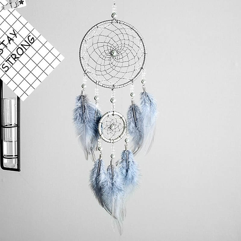 US $3.98 25% OFF|Original Silver Gray Dream Catcher 2 Ring Indian Feather Hanging Art Gifts to Bestie Friends Creative Valentine's Day Gifts|Wind Chimes & Hanging Decorations| - AliExpress