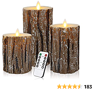 Enpornk Flameless Candles Battery Operated Pillar Birch Effect Real Wax Flickering Moving Wick Electric LED Decorative Candle Sets with Remote Control Cycling 24 Hours Timer, 4