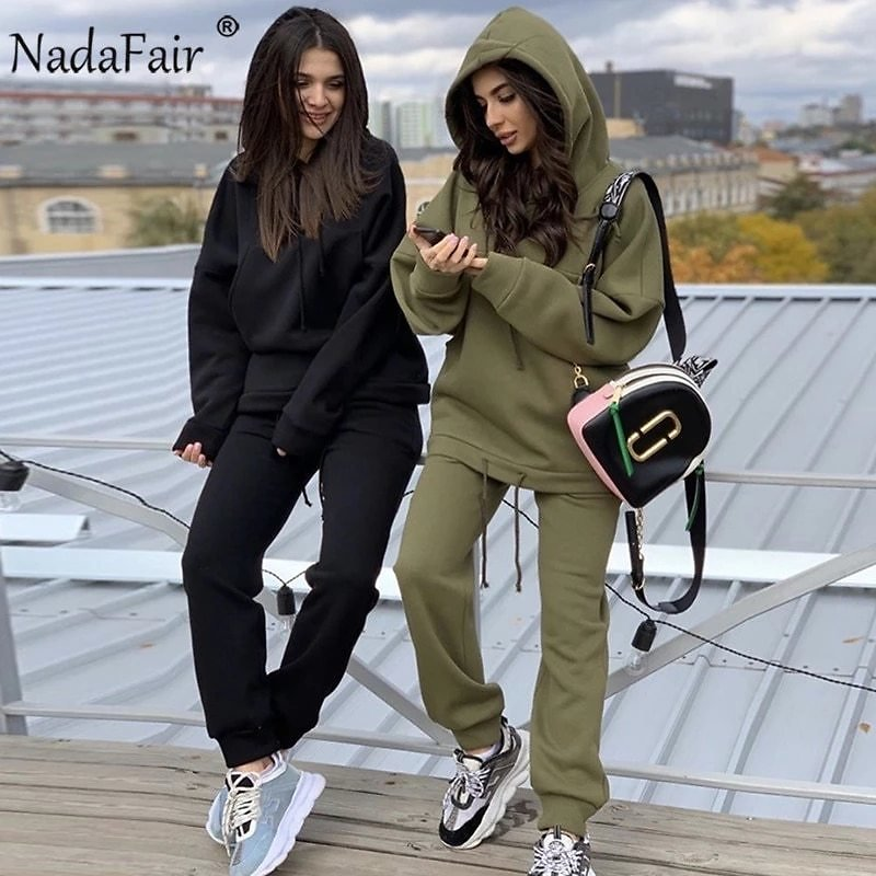 Nadafair Two Piece Set 2020 Autumn Winter Tracksuit Women's Hooded Sweatshirt And Pants Casual 2Piece Outfits Woman Sport Suit