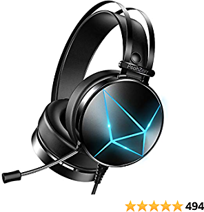 PeohZarr Gaming Headset PS4 Headset Xbox One Headset, 7.1 Surround Sound, PC Headset with Crystal Clear Mic & Large Earpads, Compatiable with Xbox One Controller(Adapter Not Included), PS4, PS5, PC