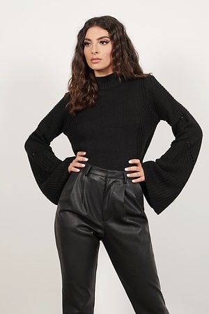 Handle With Flare Black Sweater
