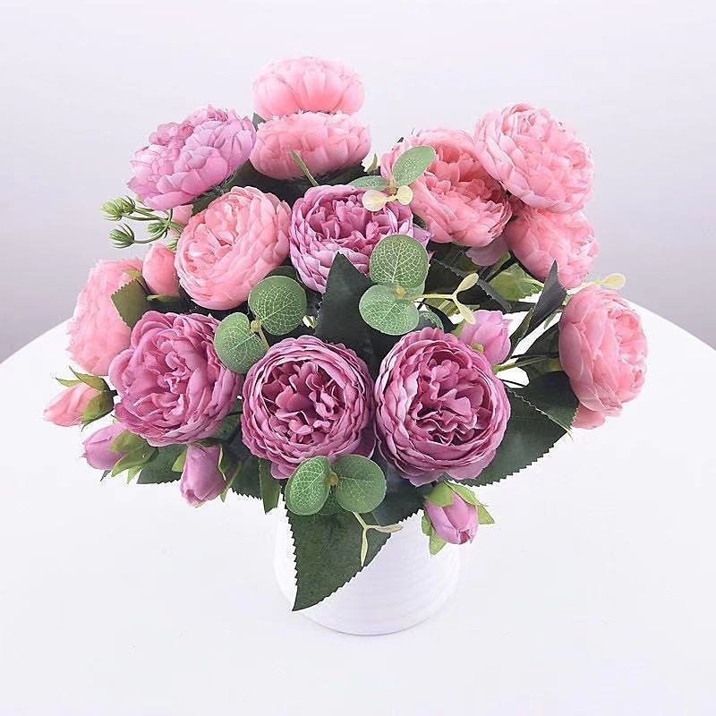 US $7.8 |1 Bundle Silk Peony Bouquet Home Decoration Accessories Wedding Party Scrapbook Fake Plants Diy Pompons Artificial Roses Flowers|Artificial & Dried Flowers| - AliExpress