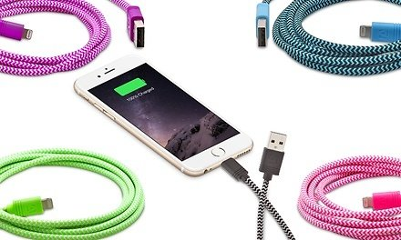 Aduro Apple-Certified Sync and Charge Fiber Cloth Lightning-to-USB Cables
