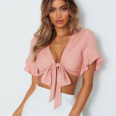 Women V-neck Butterfly Short Sleeve Bows Casual Loose Beach Summer Tank Sexy Top