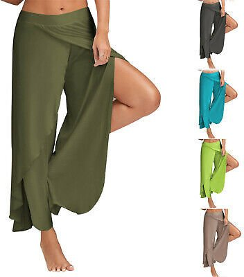 Womens Harem Palazzo Yoga Split Pants High Waist Holiday Loose Wide Leg Trousers