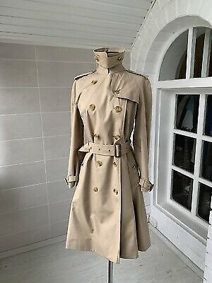 Women's Burberry Vintage 100% Cotton Double Breasted Beige Trench Coat Size 8