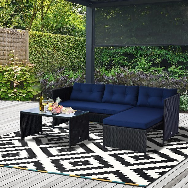 HomCom 3-Piece Wicker Rattan Patio Set, Includes Sofa, Chaise & Coffee Table, Great for Poolside or Porch Lounging