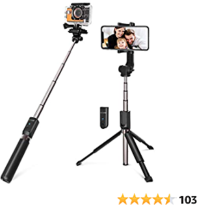 Selfie Stick Tripod, BlitzWolf 35 Inch Extendable Bluetooth Selfie Stick with Wireless Remote for Gopro IPhone Xs Max/XR/X/8/8 Plus/7/7 Plus /6 Plus/6S/6, Galaxy S10/S9/S8/Note8, Huawei, More