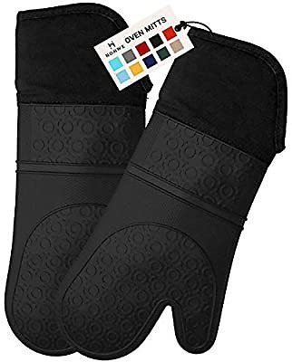 HOMWE Extra Long Professional Silicone Oven Mitt, Oven Mitts with Quilted Liner, Heat Resistant Pot Holders, Flexible Oven Glove