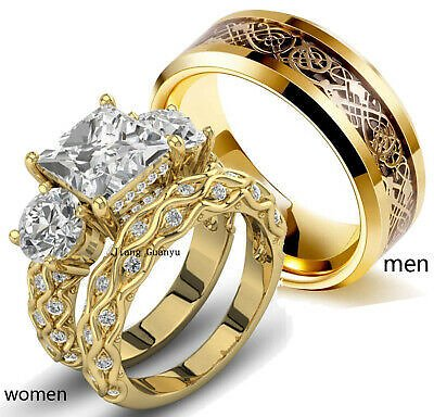 Couple Rings Cz Womens Ring Sets Yelllow Gold Titanium Steel Mens Wedding Bands